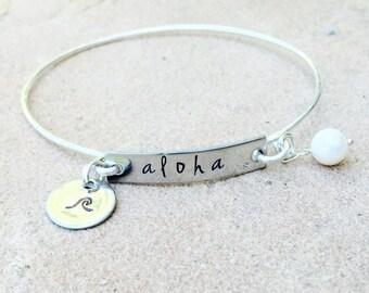Aloha Bracelet, Hawaiian Jewelry, Hawaiian Bangle, Hawaiian Bracelet, natashaaloha