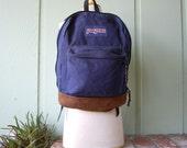 Vintage Blue Tan Leather Classic Jansport Backpack Essential Pack Book Bag Student 90s Hipster School Bag Summer Fashion Boho Ruck Sack
