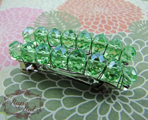 Birthstone Crystal Barrettes - August - Peridot - Set of 2 - faceted crystal barrettes for girls, teens, and women by reynared