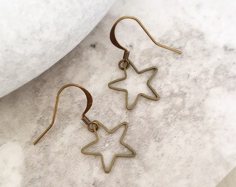 Star Earrings, Drop Earrings, Space Earrings, Star Charms, Bronze Stars, Teenage Gift, Celestial Earrings