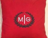 """18"""" Square Monogrammed Vine Pillow Cover/ Red and Green Pillow Cover/Monogrammed Pillow Cover/Laurel Wreath Monogram Pillow/Christmas Pillow"""