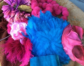 Believe Me This Is A Turquoise & Pink Vintage Lot Of Trims And Millinery