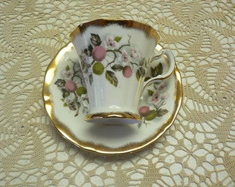 Royal Adderley, Fine Bone China , Made in England  , Cup and Saucer,  Apples and Apple Blossoms