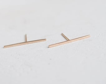 14k Gold Long Bar Studs | Solid 14k Recycled Gold Line Earrings