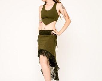 Lace Skirt- Green Lace Skirt- Maxi Skirt- Adjustable Skirt- Fairy Skirt