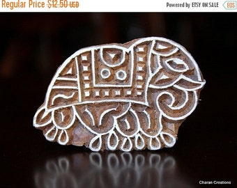 THANKSGIVING SALE Hand Carved Indian Wood Textile Stamp Block- Elephant