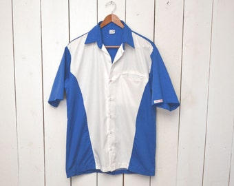 Color Block Button Up - Mens Mid Century Rockabilly Bowling Style Shirt - Blue White - Vintage Short Sleeve Oxford - Small S / Medium M