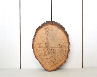 Wood Slice Wall Hanging 1970s Vintage Pyrography Carved Farm Windmill Picture