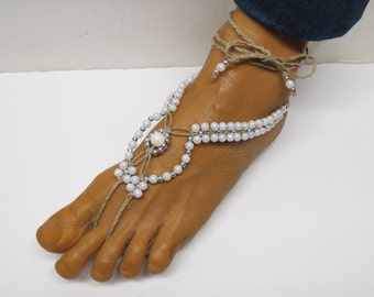 SALE Pair of White pearl and silver barefoot sandals made with hemp.  Beach and bridal fashion. HFT-A315