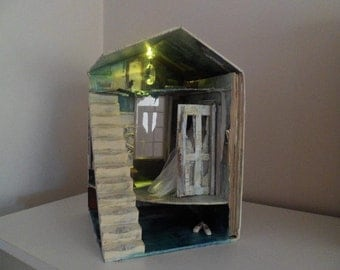 Assemblage miniature house book sculpture A forgotten time