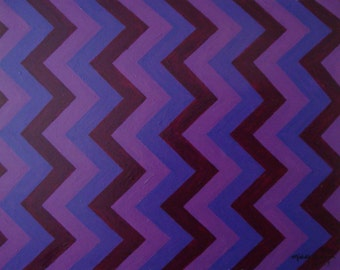 Purple Zig Zags Pop Art Abstract Art Canvas Art Purple Home Decor Wall Art Zig Zag Art Painting Wall Decor Abstract