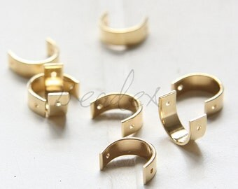 20 Pieces / Raw Brass / Brass Base / Finding / Half Circle / Bead Frame (C3315//F74)