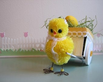 Easter Chick Decoration Wooden Cart Wood Easter Basket Spring Decor Centerpiece Vintage Style Box Sculpted Pom Pom Chicks Chicken