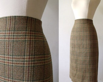 Vintage Plaid Pencil Wiggle Khaki Brown Skirt ~ MARKS and SPENCER ~ Made in U.K.