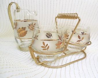Libbey Golden Foliage Glass Serving Ware 3-Pc. Caddy Set, Libbey Sugar Bowl & Creamer Set, Libbey Cocktail Pitcher, Hollywod Regency Set