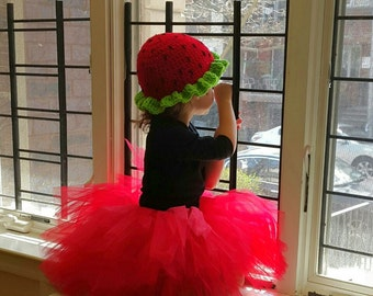 Strawberry Hat Circumference 18 to 24 inches READY TO SHIP Strawberry Shortcake Party Halloween Costume Outfit Baby Girls Womens