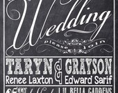 Chalkboard Wedding Invitations, Typography, Custom Wedding Invitation Listing for Taryn Laxton