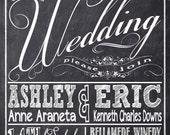 Chalkboard Wedding Invitations, Typography, Custom Wedding Invitation Listing for aranash