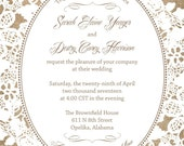 Burlap and Lace Wedding Invitations, Rustic Summer Wedding, Custom Wedding Invitation Listing for Sarah Yeager