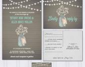 Babys Breath Wedding Invitations, Barnwood Invite Set, String Light Wedding Invitation, Ball Jar Budget Wedding, Mason Jar, SAMPLE