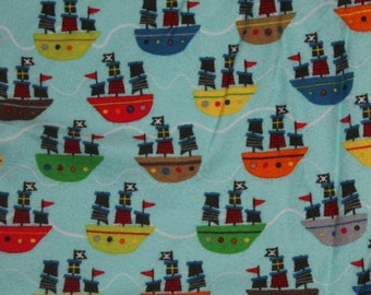 FLANNEL Pirate Ship Crib/Toddler Bed Fitted Sheet