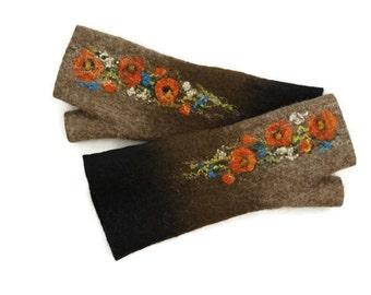 Long Felted Fingerless gloves Fingerless Mittens Arm warmers Gloves -Black Brown