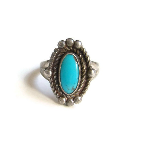 Bell Trading Post Navajo Turquoise Ring Size 5.5 By
