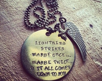 Hand Stamped Brass Necklace with Fleetwood Mac Stevie Nicks Quote