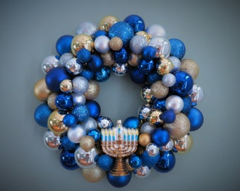 RESERVED--HANUKKAH Wreath Ornament Wreath with Gold MENORAH blue gold and silver Hanukkah Wreath