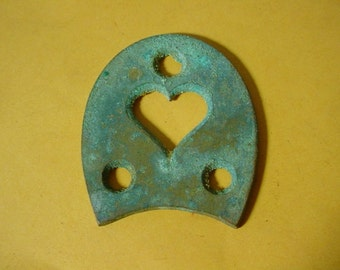 Victorian Brass Shoe Heel Plate with Heart Cut OutVintage 1860s-80s