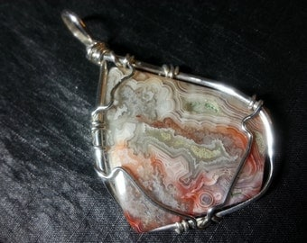 Crazy Lace Agate Pendant Sterling Silver Wire Wrap