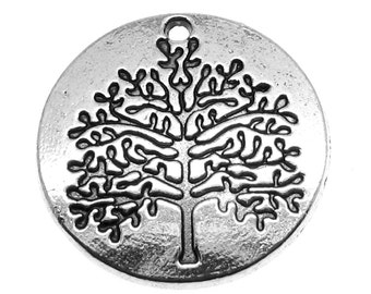 Silver Charms : 10 Antique Silver Tree of Life Charms | Silver Tree of Life Pendants ... 22x2mm -- Lead, Nickel & Cadmium Free  54422.J6D