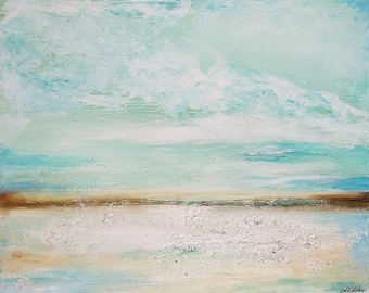 Painting with Beach Sand landscape Painting  t,acrylic painting, turquoisewhite brown Landscape painting,   Wall Decor, wall art