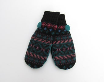 Wool Mittens Fleece Lined Fair Isle in Black and Jewel Tones Felted Wool Sweater Mittens
