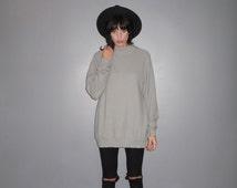 High Neck Sweater - Jumper Lightweight, Light Grey, 90s Sweater Dress VTG - Size L/XL