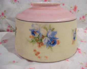 Beautiful 1940s deco drum light shade, flush mount w blue orchids, pastel pink, yellow