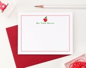 Apple Stationery // Personalized Stationary for kids // Personalized stationery teacher // personalized gift for teacher, SA026