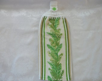 Hanging Double Kitchen Towel  Green Leaf Towel Kitchen Towel Crochet Top Hanging Kitchen Towel