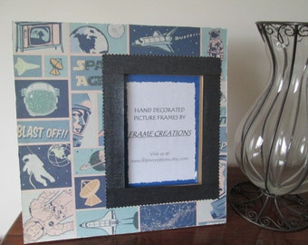 5x7 Space Themed -Hand Decorated Picture Frame