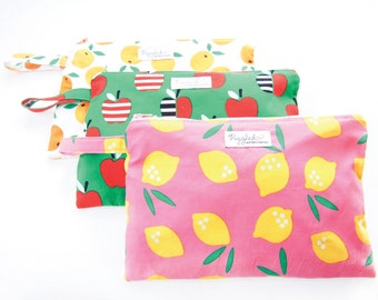 Medium Wet Bag / Nappy Wallet / Diaper Case / Toiletry Bag with Optional Tab  - Pink Lemonade, Green Apple, or Oranges (Organic Cotton)