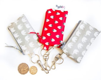 Mini Zippered Coin Purse with Waterproof Lining and a Swivel Clip - Choose Your Fabric