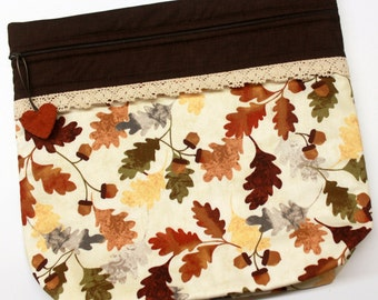 MORE2LUV Fall Leaves Acorns Cross Stitch Embroidery Project Bag