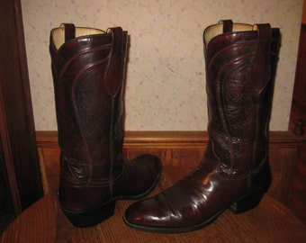 DAN POST    Blackcherry   Leather    Western Boots    Womens  10  B