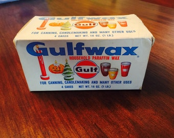 Vintage Gulfwax Household Paraffin Wax Canning Candlemaking Crafting 1 LB Pound NOS 1960s 1970s Advertising Graphics