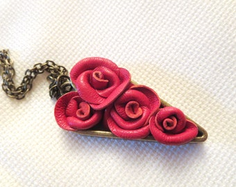 Heart Necklace Red Leather rose necklace-3rd anniversary gift-valentines gift