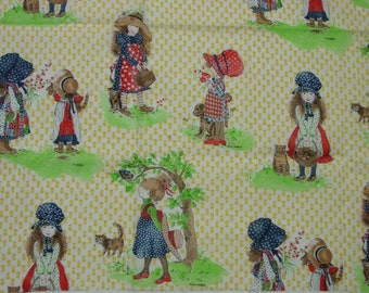 """Adorable Vintage Cotton Fabric, Holly Hobbie by American Greetings 56"""" x 44"""" Wide"""