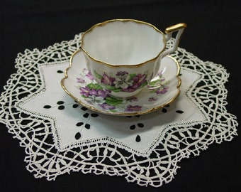 """Antique Needle Lace Doilies, Set of 2- 11 1/2"""" Embroidered Eyelets, 4 Available"""