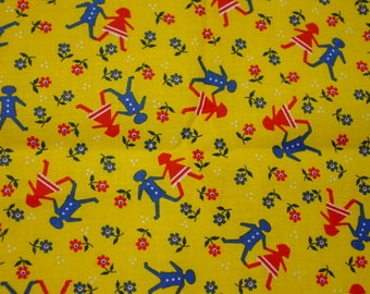 "Vintage Fabric,Cute Children's Print Bright Colors Boy & Girl, Flowers 2 yards 36"" Wide"