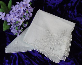 Beautiful Antique Hanky, Handkerchief, Bridal, Wedding, Madeira Embroidery