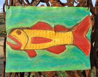 Big Mouth  / Fish - Reclaimed Metal Salvage - OutSider Art - Original Painting - Cathy DeLeRee
